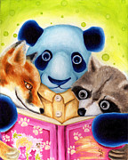 Blue Panda Framed Prints - From Okin the Panda illustration 10 Framed Print by Hiroko Sakai