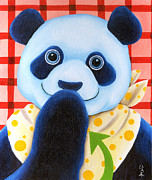 Blue Panda Framed Prints - From Okin the Panda illustration 11 Framed Print by Hiroko Sakai