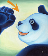Blue Panda Framed Prints - From Okin the Panda illustration 12 Framed Print by Hiroko Sakai