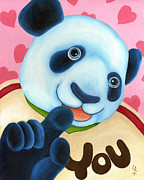 Blue Panda Framed Prints - From Okin the Panda illustration 16 Framed Print by Hiroko Sakai