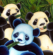 Blue Panda Framed Prints - From Okin the Panda illustration 3 Framed Print by Hiroko Sakai