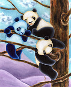 Blue Panda Framed Prints - From Okin the Panda illustration 4 Framed Print by Hiroko Sakai