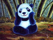 Blue Panda Framed Prints - From Okin the Panda illustration 6 Framed Print by Hiroko Sakai