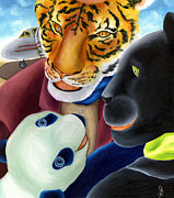 Panther Paintings - From Okin the Panda illustration 8 by Hiroko Sakai