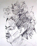 Portrait Drawing Framed Prints - From one thing came another Framed Print by Greta Corens