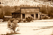 Bannack State Park Montana Framed Prints - From Saloon to Store Front and Home in Sepia Framed Print by Sue Smith