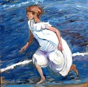 Sorolla Paintings - from Sorollas Running on the Beach by Jack Riddle