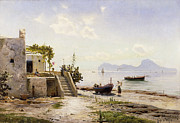 Building Feature Painting Framed Prints - From Sorrento Towards Capri Framed Print by Peder Monsted