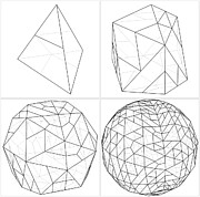 Icosahedron Digital Art - From Tetrahedron To The Ball Sphere Lines by Nenad  Cerovic