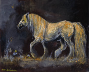 White Horse Painting Originals - From The Darkness by Angel  Tarantella