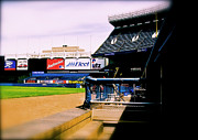 Yankee Stadium Photographs Prints - FROM THE DUGOUT  The Yankee Stadium Print by Iconic Images Art Gallery David Pucciarelli