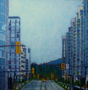 North Vancouver Painting Posters - From Vancouver to the mountains Poster by Sandrine Pelissier