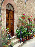 Flower Pots Prints - Front Door Print by Ellen Henneke