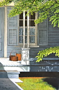 Front Porch Painting Framed Prints - Front Porch Baskets Framed Print by Dave Hasler