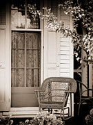 Wicker Chairs Framed Prints - Front Porch Framed Print by Colleen Kammerer