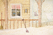 Sandra Cunningham - Front porch in snow with clothesline/ digital watercolor