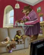 Cartoon Animals Posters - Front Room Bear Family Son Playing Computer Game Poster by Martin Davey