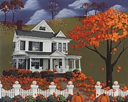 Autumn Folk Art Posters - Front Row Seats at Wingate Place Poster by Catherine Holman