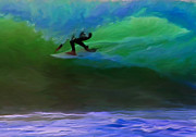 Wave Riders Prints - Front Side Tube Print by Michael Pickett