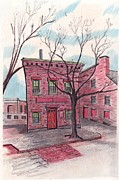 Brick Buildings Drawings - Front Street by Paul Meinerth