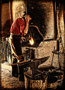 Trappers Posters - Frontier Blacksmith at the Forge Poster by Lincoln Rogers