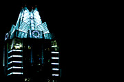 Austin At Night Prints - Frost Bank Tower in Austin at night Print by Jeff Kauffman