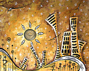 Gold Color Paintings - Frosted City by MADART by Megan Duncanson