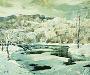Snow Scene Paintings - Frosted Trees by Jonas Lie