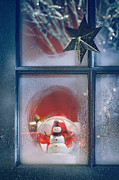 Sandra Cunningham - Frosted window with Christmas decoration inside