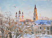 Winter Landscape Painting Originals - Frosty evening by Victoria Kharchenko