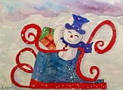 Frosty Mixed Media Posters - Frosty In His Sleigh2 Poster by Bonnie Wright