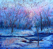 Snow Scene Pastels Metal Prints - Frosty Morning Metal Print by Christine Bass