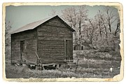 Sheds Mixed Media Framed Prints - Frosty Morning Sepia 1 Framed Print by Chalet Roome-Rigdon