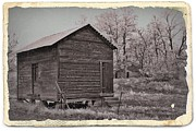 Sheds Mixed Media Posters - Frosty Morning Sepia 2 Poster by Chalet Roome-Rigdon