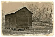 Sheds Mixed Media Framed Prints - Frosty Morning Sepia 5 Framed Print by Chalet Roome-Rigdon