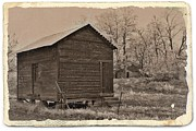 Sheds Mixed Media Framed Prints - Frosty Morning Sepia 6 Framed Print by Chalet Roome-Rigdon