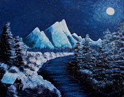 Little Cabin Prints - Frosty Night in the Mountains Print by Barbara Griffin
