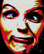 Tradigital Art Prints - Frown N Clown Print by Byron Fli Walker