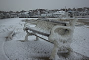 Plymouth Harbor Prints - Frozen Bench Print by Amazing Jules