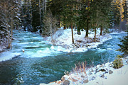 Pacific Northwest Rivers Prints - Frozen Blue River Print by Carol Groenen