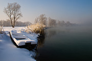 White River Photos - Frozen boat by Davorin Mance