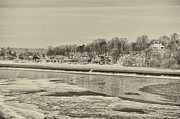 Frozen Digital Art Framed Prints - Frozen Boathouse Row in Sepia Framed Print by Bill Cannon