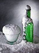 Ice Wine Prints - Frozen Bottle Ice Cold Drink Print by Dirk Ercken