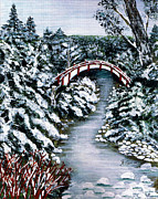 Snowscape Painting Posters - Frozen Brook - Winter - Bridge Poster by Barbara Griffin