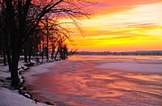 Lake Prints - Frozen Dawn at Lake Cadillac  Print by Terri Gostola