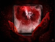 Black Background Digital Art - Frozen heart by Gun Legler