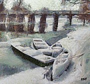 Impressionism Art - Frozen Krka river by Dragica  Micki Fortuna