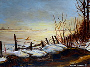 Adele Painting Metal Prints - Frozen Lake Near Ste. Adele Metal Print by Carole Spandau