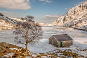Pen  Prints - Frozen Lake Ogwen Print by Adrian Evans