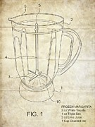 Frozen Drink Prints - Frozen Margarita Recipe Patent Print by Edward Fielding